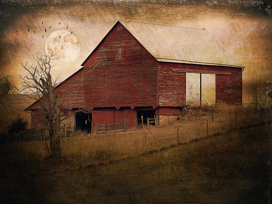 Red Barn In The Evening Photograph