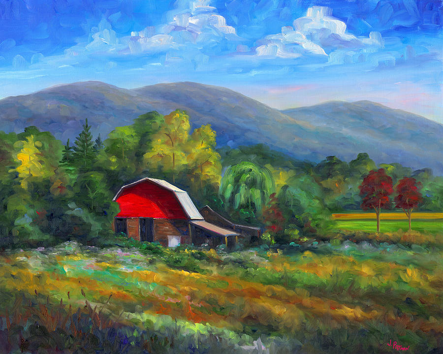 Red Barn On Cane Creek Painting  - Red Barn On Cane Creek Fine Art Print