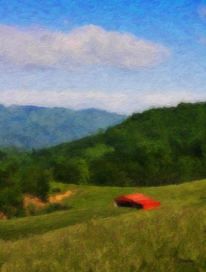 Red Barn On The Mountain Painting