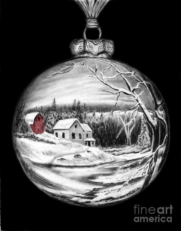 Red Barn Winter Scene Ornament  Drawing  - Red Barn Winter Scene Ornament  Fine Art Print