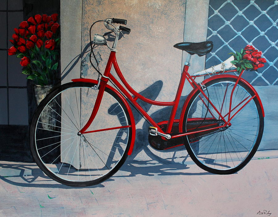 Red bicycle painting by greg riley for Bicycle painting near me