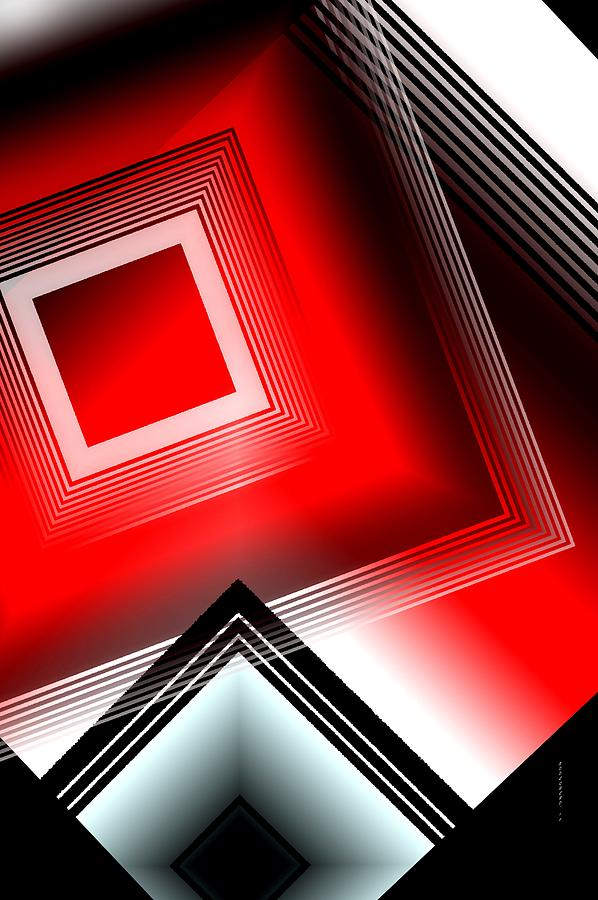 Red Black And White Digital Art  - Red Black And White Fine Art Print