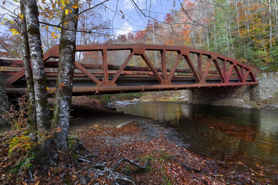Appalachia Photograph - Red Bridge by Debra and Dave Vanderlaan