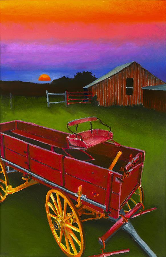 Red Buckboard Wagon Painting