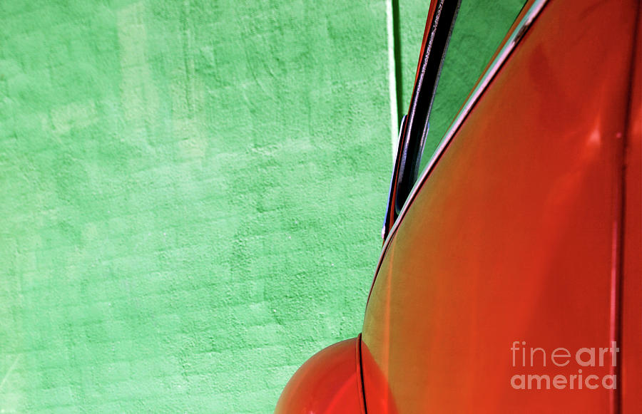 Red Bug Green Wall Painting  - Red Bug Green Wall Fine Art Print