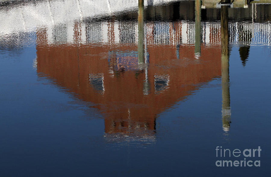 Red Building Reflection Photograph  - Red Building Reflection Fine Art Print