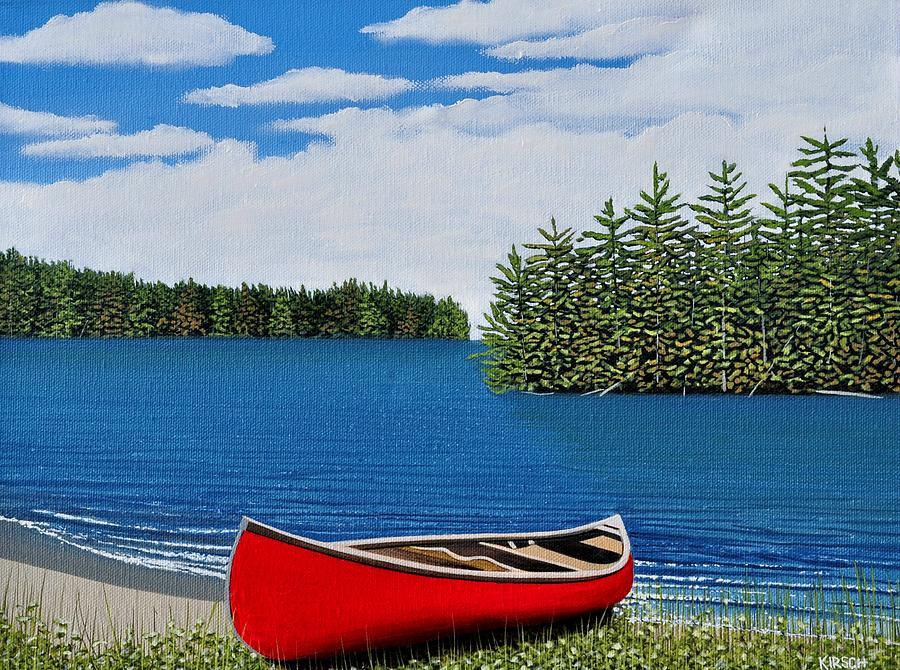 Red Canoe Painting