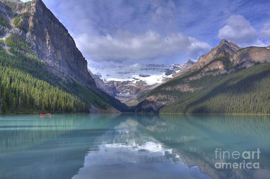 Red Canoe On Lake Louise Photograph  - Red Canoe On Lake Louise Fine Art Print