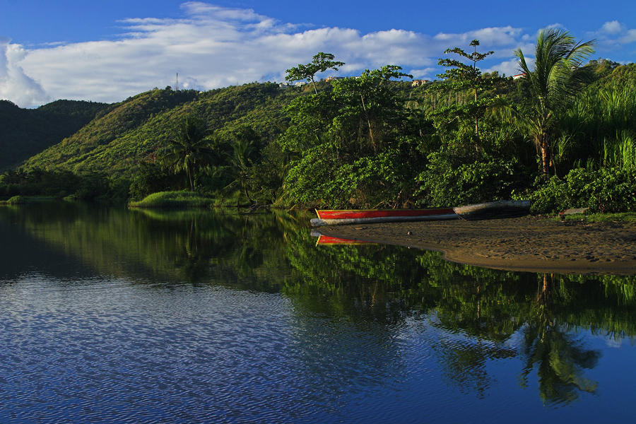 Red Canoe On Roseau River- St Lucia Photograph