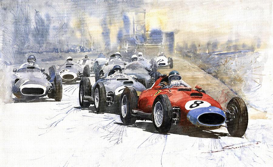 Red Car Ferrari 801 German Gp 1957  Painting