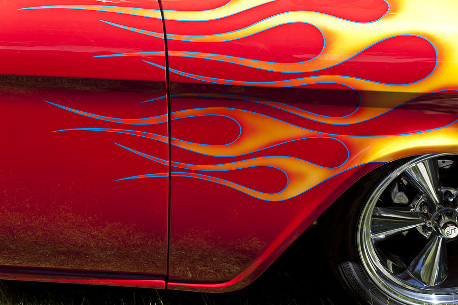 Red Car With Flames Photograph By Garry Gay