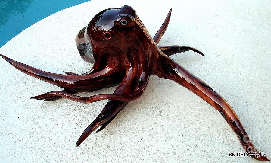 Wood Sculpture Sculpture - Red Cedar Wood Octopus by Douglas Snider
