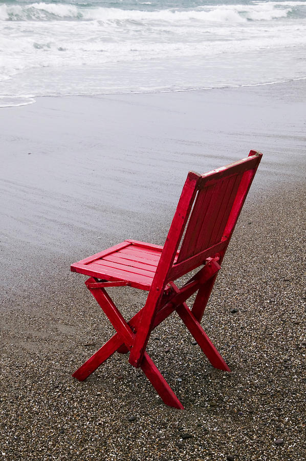 Red Chair On The Beach Photograph  - Red Chair On The Beach Fine Art Print