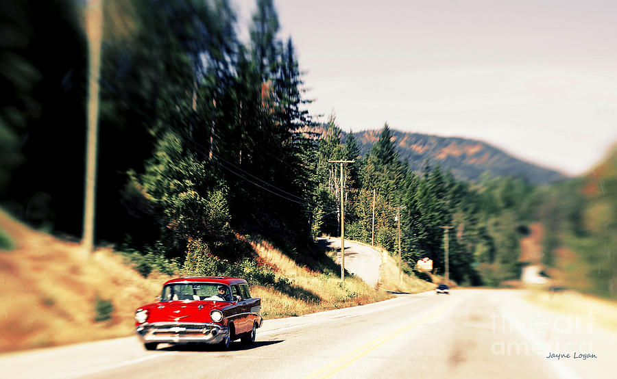 Red Chevy Wagon Cruising Photograph