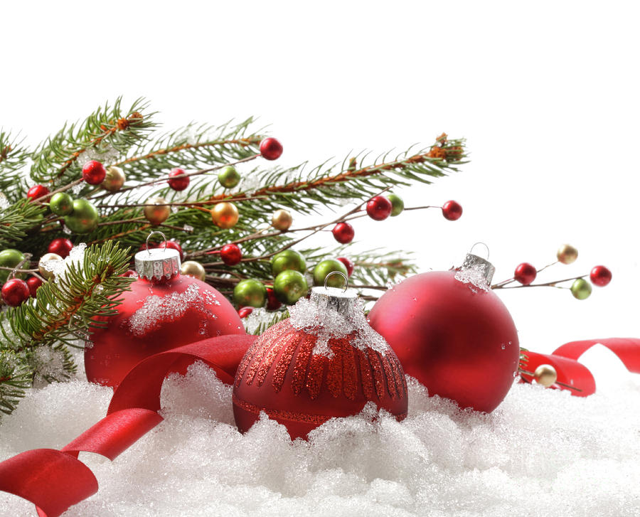 Red Christmas Balls In The Snow  Photograph  - Red Christmas Balls In The Snow  Fine Art Print