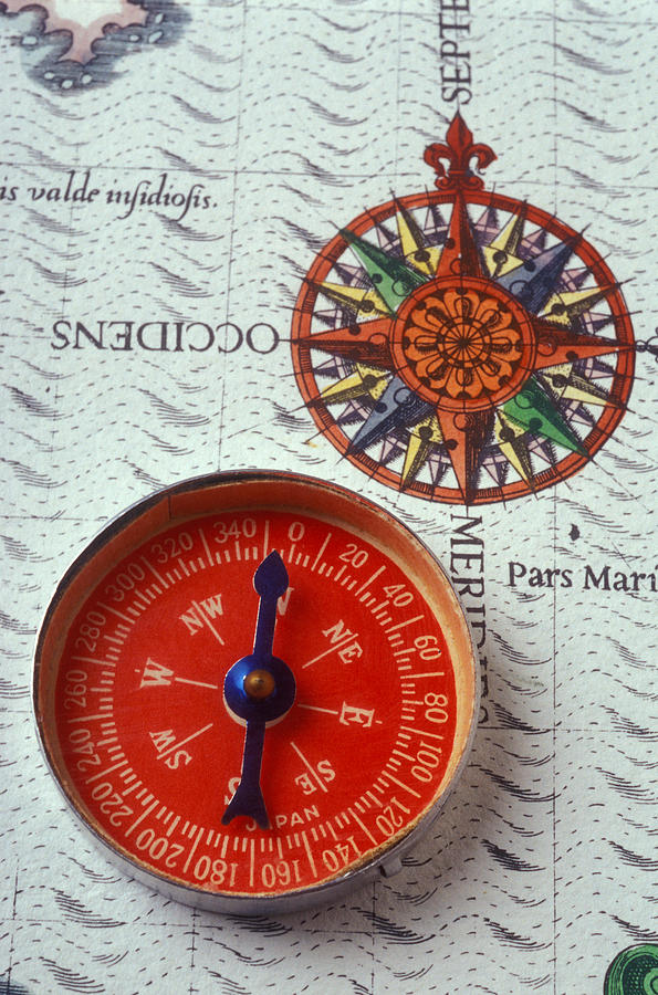 Red Compass And Rose Compass Photograph