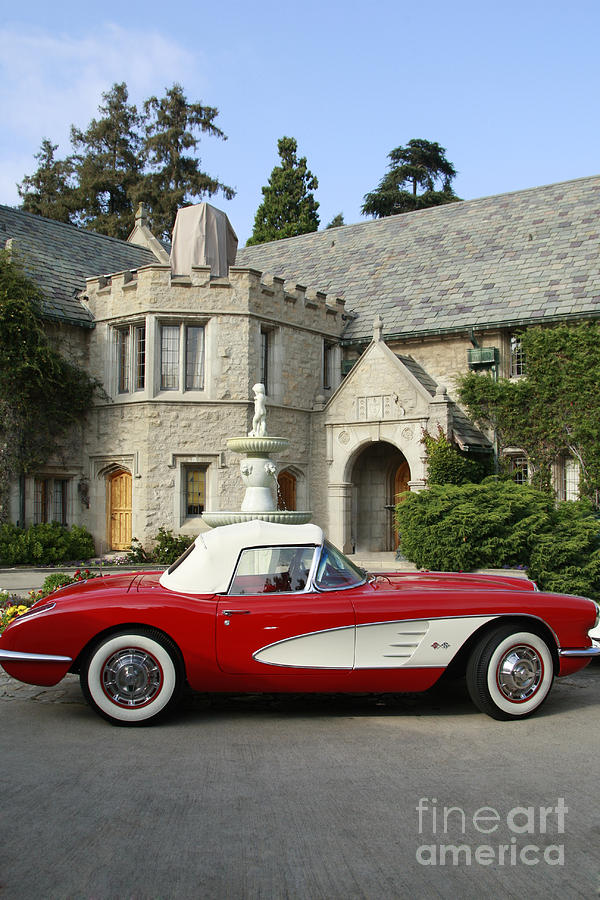 Red Corvette Outside The Playboy Mansion Photograph