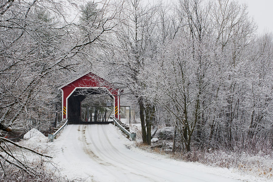 Red Covered Bridge In The Winter Photograph