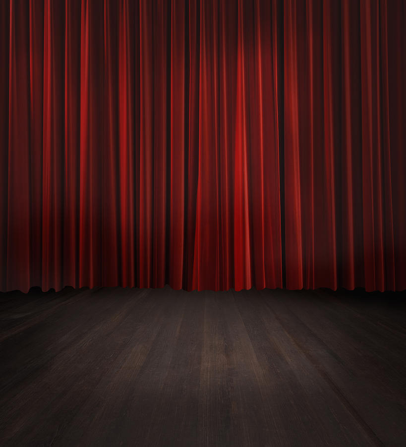 Red curtain on a theater stage is a photograph by gregor schuster