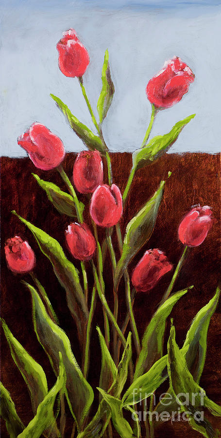 Red Delight-tulips Painting  - Red Delight-tulips Fine Art Print