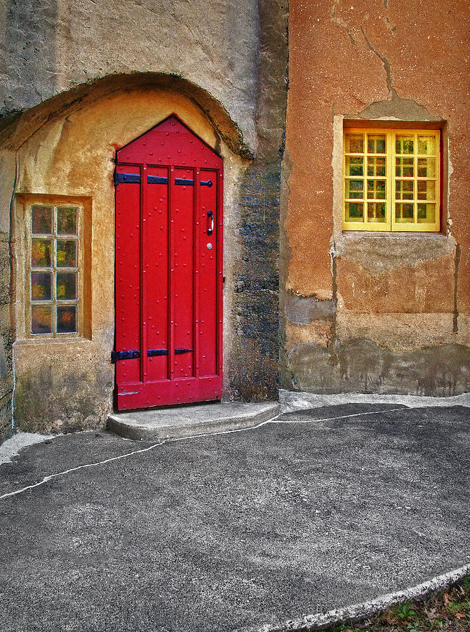 Red Door And Yellow Windows Photograph