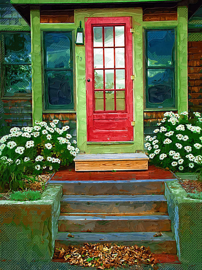 Daisy Photograph - Red Door by Susan Lee Giles