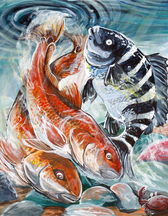 Red Drums And A Sheephead Painting