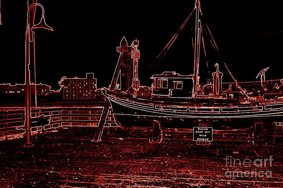 Red Electric Neon Boat On Sc Wharf Photograph  - Red Electric Neon Boat On Sc Wharf Fine Art Print