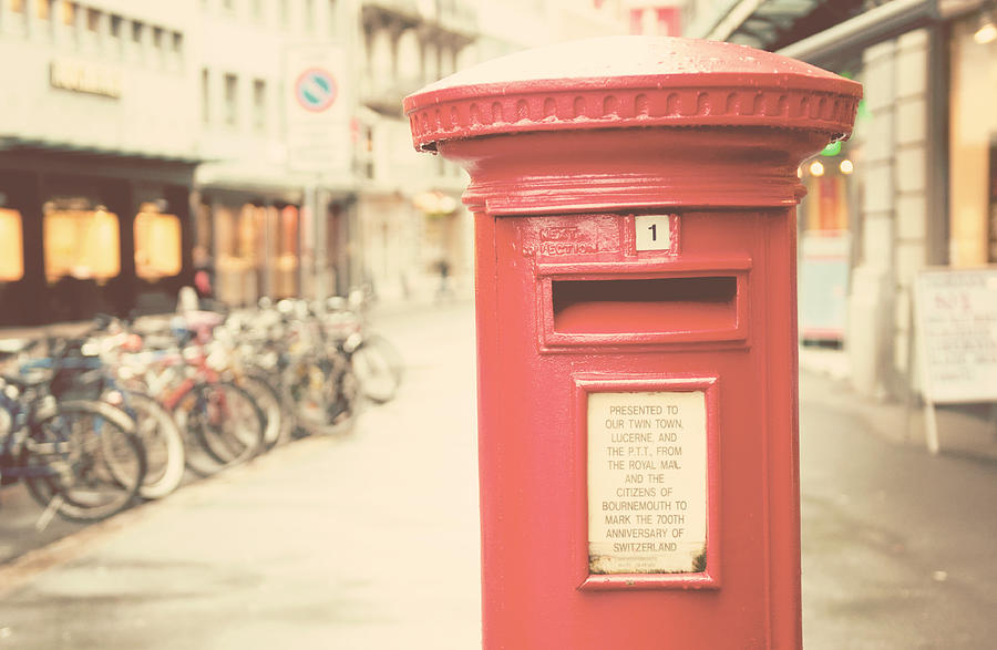Horizontal Photograph - Red English Post Box In Lucerne, Switzerland by Copyright Laura Evans. All Rights Reserved.
