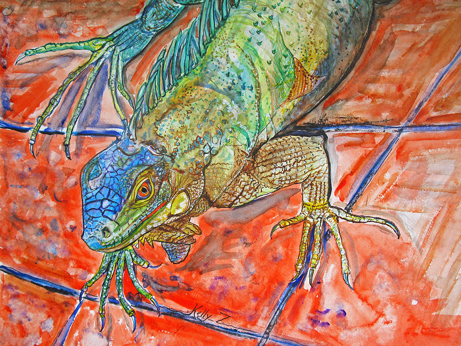 Red Eyed Iguana Painting  - Red Eyed Iguana Fine Art Print