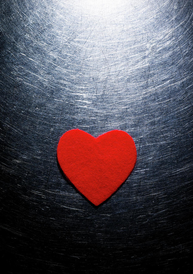 Red Felt Heart On Stainless Steel Background. Photograph  - Red Felt Heart On Stainless Steel Background. Fine Art Print
