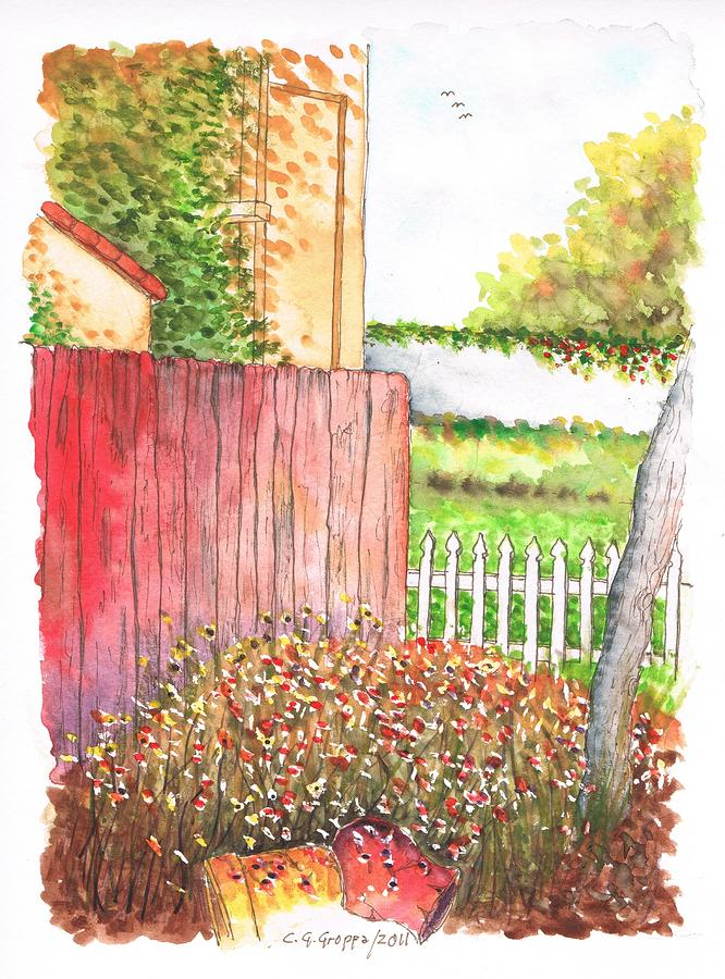 Red-fence-lompoc-california Painting  - Red-fence-lompoc-california Fine Art Print