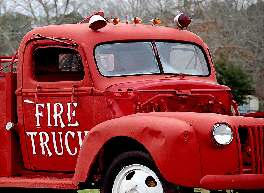 Red Fire Truck Painting  - Red Fire Truck Fine Art Print