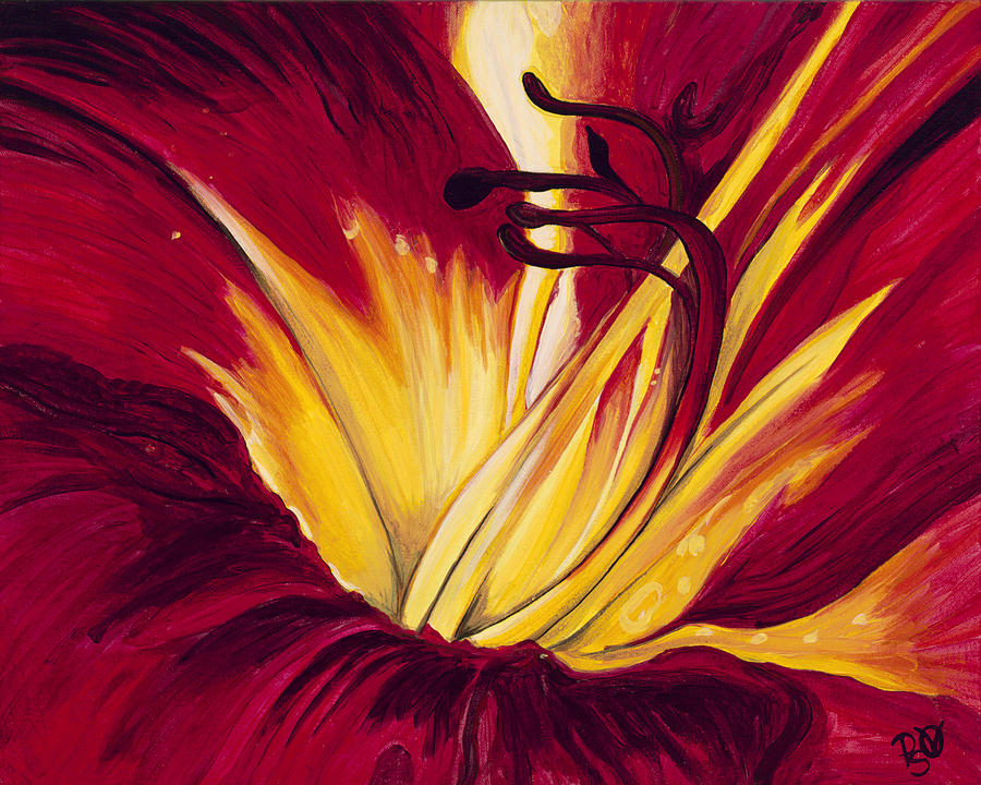 Acrylic Painting Red Flowers on Love Poems For Wife