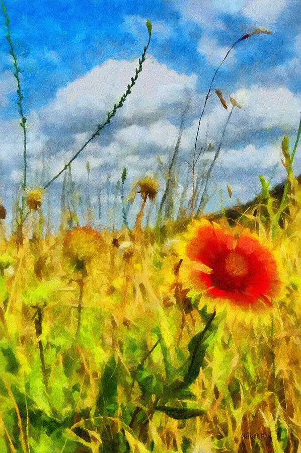 Red Flower In The Field Painting