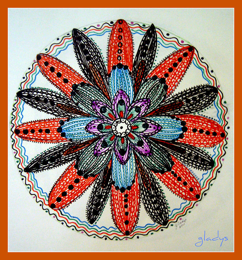 Red Flower Mandala  Drawing  - Red Flower Mandala  Fine Art Print