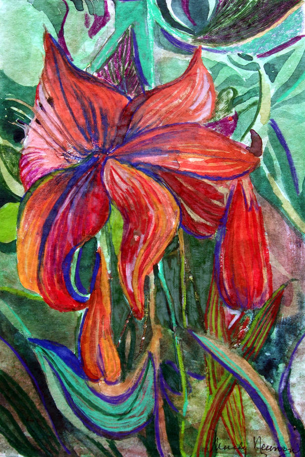 Red Flower Painting  - Red Flower Fine Art Print