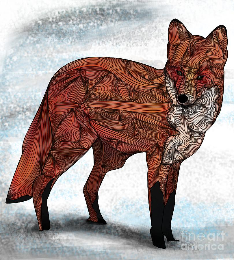 Red Fox Digital Art  - Red Fox Fine Art Print