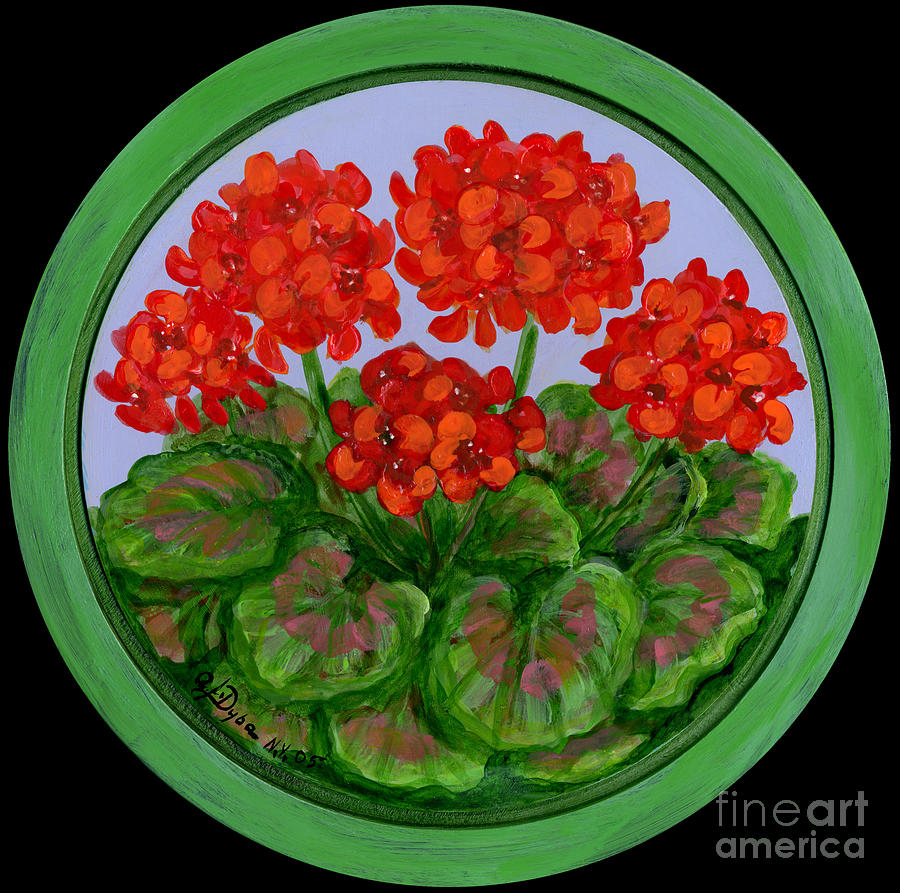 Red Geranium On Wood Painting