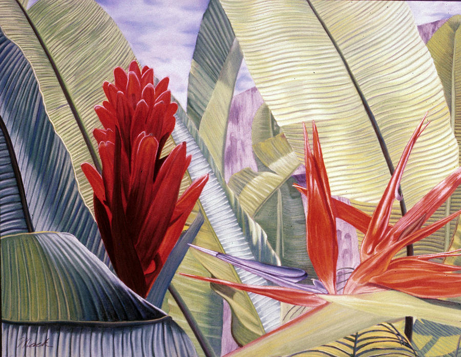 Red Ginger And Bird Of Paradise Pastel  - Red Ginger And Bird Of Paradise Fine Art Print