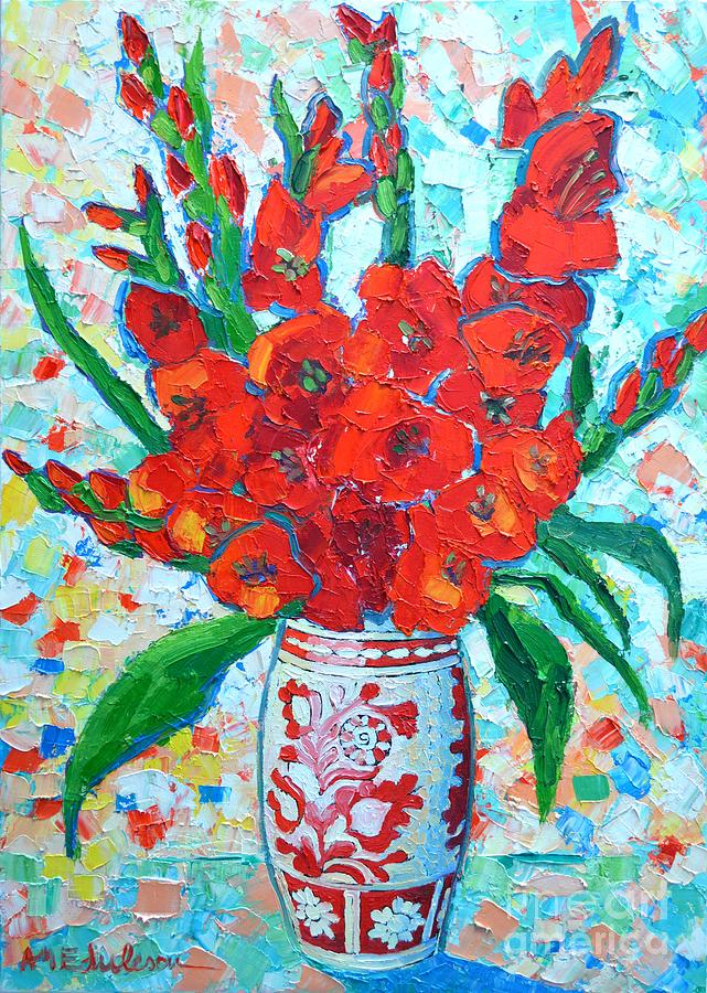Red Gladiolus Painting