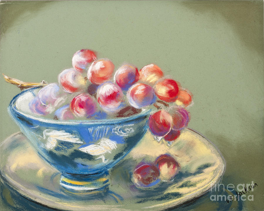 Red Grapes Blue Bowl Pastel  - Red Grapes Blue Bowl Fine Art Print