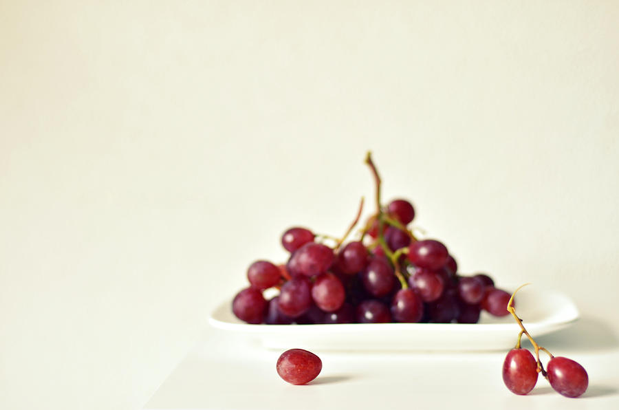 Red Grapes On White Plate Photograph