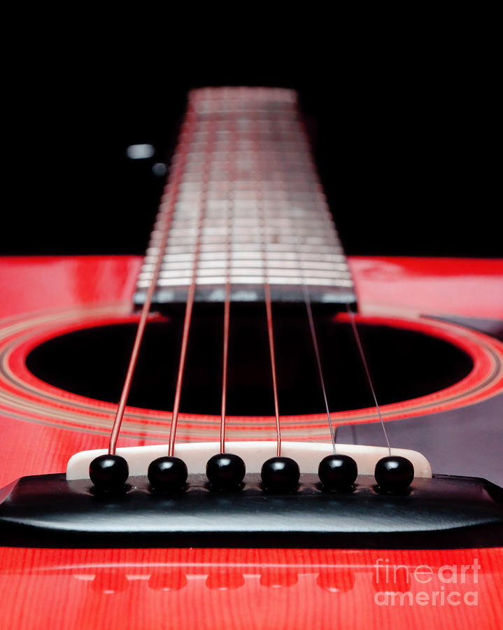 Red Guitar 16 Photograph  - Red Guitar 16 Fine Art Print