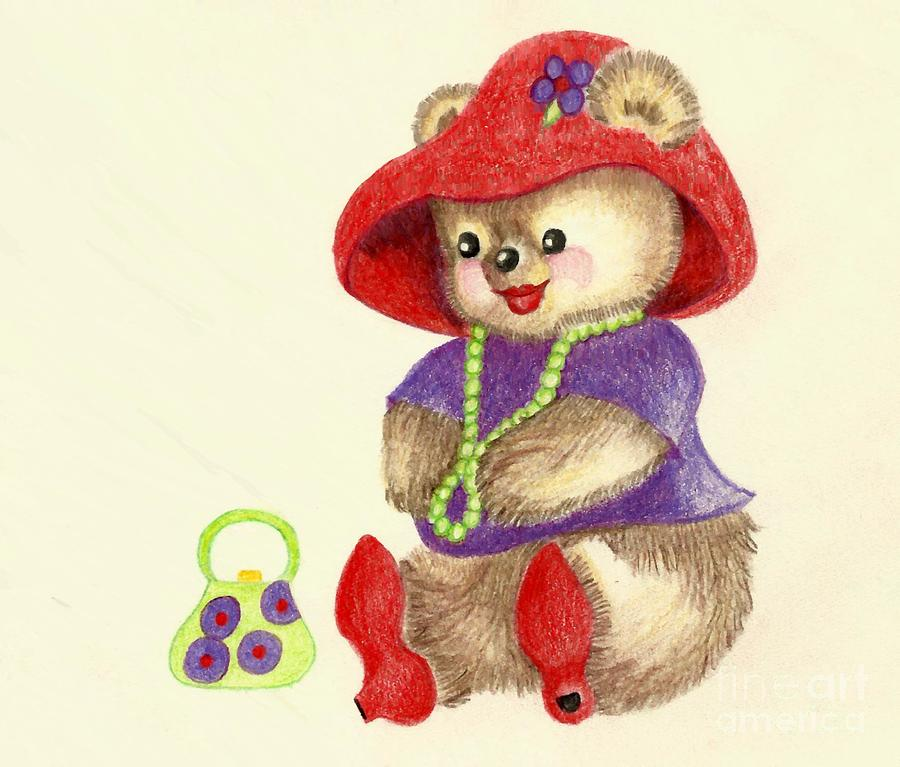 Red Hat Teddy Painting  - Red Hat Teddy Fine Art Print