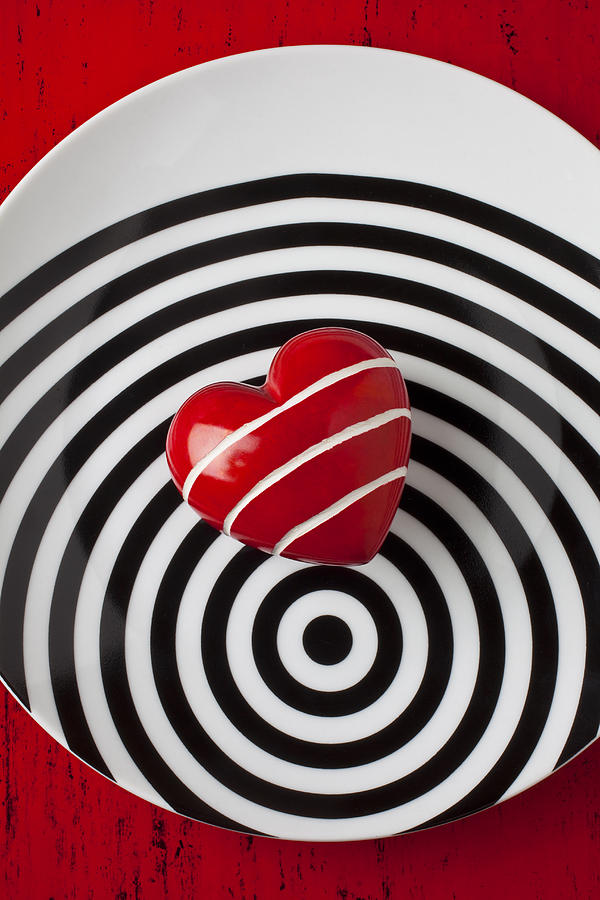 Red Heart On Circle Plate Photograph
