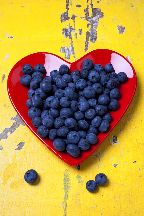 Red Heart Plate With Blueberries Photograph  - Red Heart Plate With Blueberries Fine Art Print