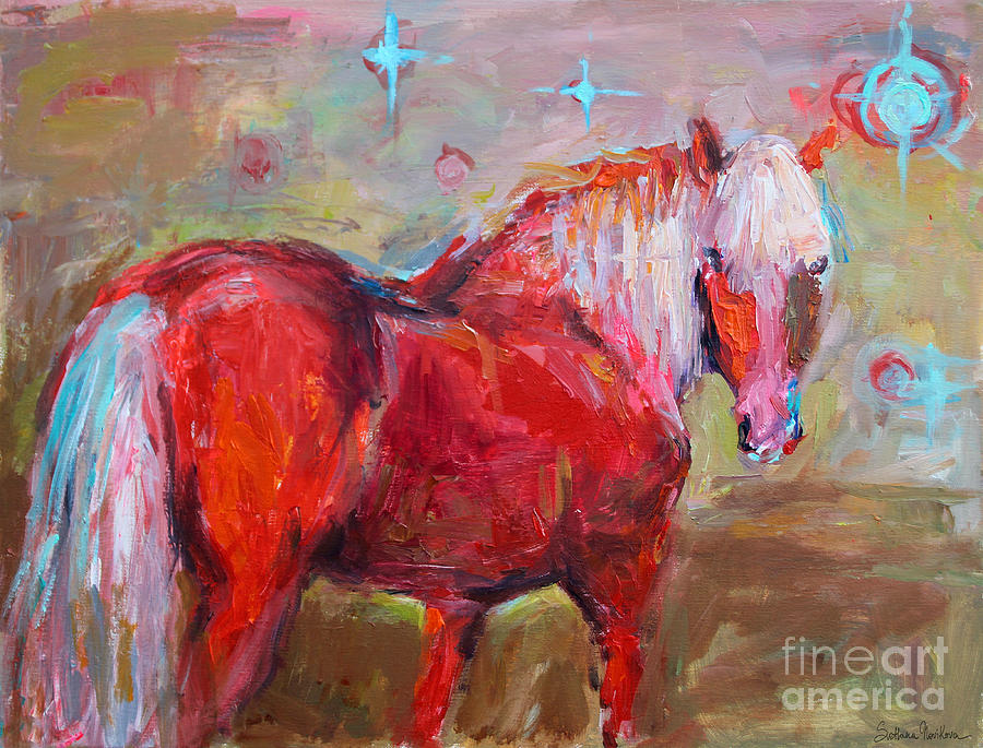 Red Horse Contemporary Painting Painting  - Red Horse Contemporary Painting Fine Art Print
