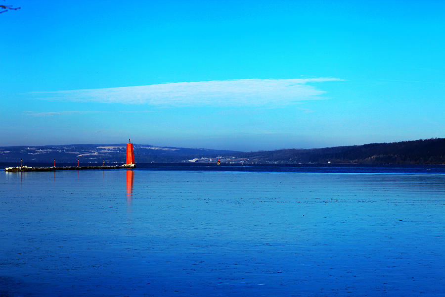 Red Lighthouse In Cayuga Lake New York Photograph  - Red Lighthouse In Cayuga Lake New York Fine Art Print