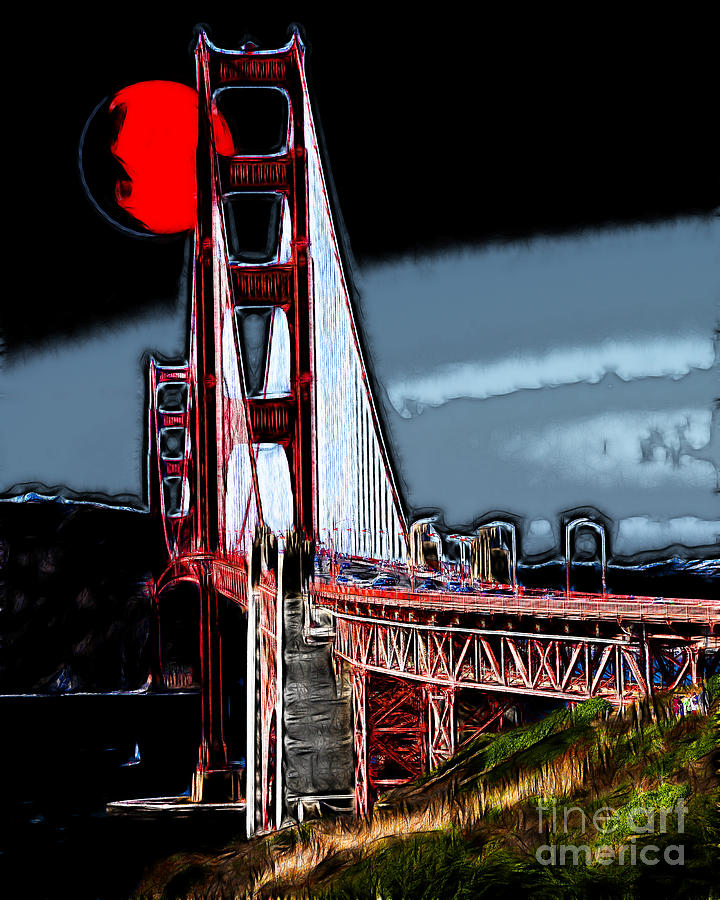 Red Moon Over The Golden Gate Bridge Photograph